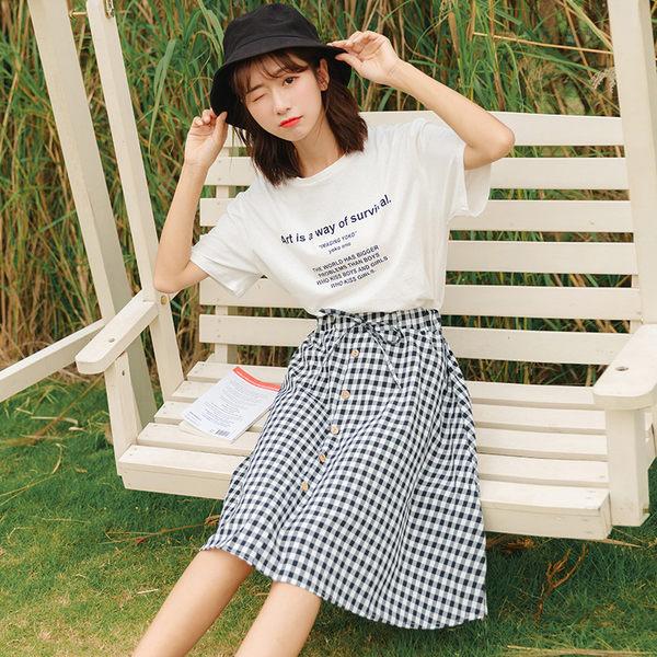 VK旗艦店 韓系小清新格紋裙套裝短袖裙裝