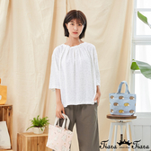 【Tiara Tiara】百貨同步新品aw  小葉子印花領口打摺上衣(灰/黃)