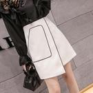 不規則春季白色時尚裙子短裙A字裙半身裙女春夏2021新款高腰半裙 果果輕時尚