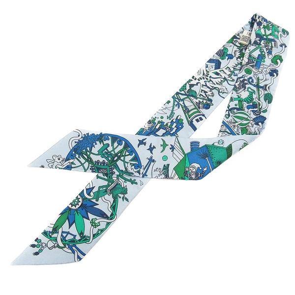 HERMES 愛馬仕 藍色幽默瘋狂遊行圖案絲巾 La Folle Parade Twilly 【BRAND OFF】