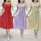 棉麻洋裝連身裙~純色綿綢連衣裙寬松抽繩收腰顯瘦中長款裙子2188#MB119B衣時尚