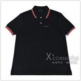 PRADA黑白橡膠LOGO紅白條紋設計純棉短袖POLO衫(S/M/L/黑)