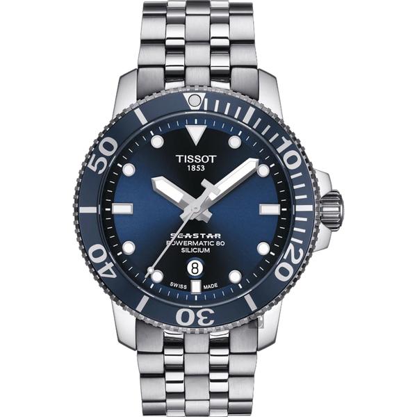 TISSOT 天梭 Seastar 1000 海洋之星300米潛水機械錶-藍/43mm T1204071104101