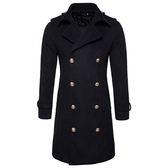 毛呢大衣-英倫風格中長版雙排釦男風衣外套4色73ps31【時尚巴黎】