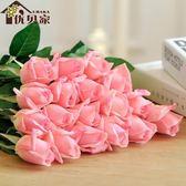逼真保濕玫瑰仿真花 家居裝飾假花束 歐式餐桌花客廳擺件婚慶花藝igo