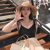 吊帶背心 韓國吊帶外搭純色簡約綁帶V領 米蘭shoe