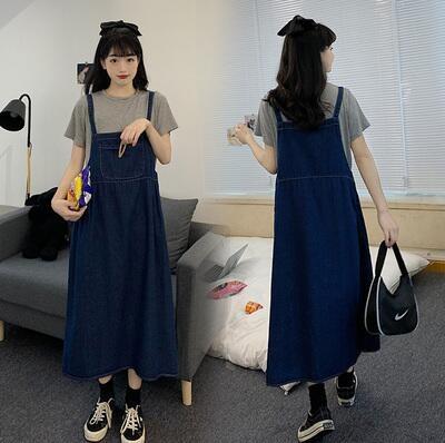 L-4XL胖妹妹大碼洋裝連身裙~大碼胖mm洋氣寬松牛仔背帶兩件套女裝套裝3F061A衣時尚