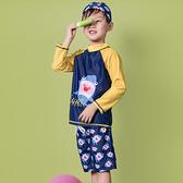 #兒童泳裝#撞色#印花 簡約 個性 兩件套 長袖 兒童泳裝