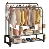 晾衣架桿落地折疊室內涼掛衣架臥室簡易雙桿式陽臺家用曬衣服架子