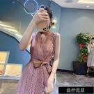 裙子新款2021年夏季氣質大擺雪紡無袖洋裝長款裙子女神范溫【全館免運】