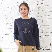 【Tiara Tiara】百貨同步aw 幻夢星辰繪本刺繡長袖上衣(白/藍/黃)