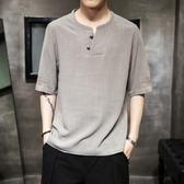 夏季亞麻半袖短袖t恤男士中國風刺繡圖案潮流上衣 潮牌五分袖體恤