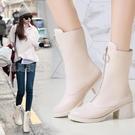 馬丁靴馬丁靴女日繫皮鞋女長筒鞋子女21新款潮高跟鞋短靴春夏季瘦 快速出貨