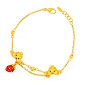 奇蒂草莓手鍊-迪士尼系列金飾-奇奇蒂蒂黃金手鍊