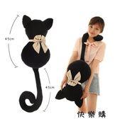 背影貓咪抱枕小黑貓毛絨玩具公仔禮物