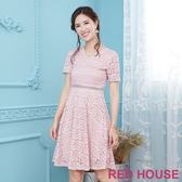 Red House 蕾赫斯-花朵蕾絲V領洋裝(共3色) 滿2000元現抵250元