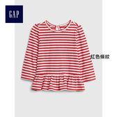 Gap女嬰兒 舒適純棉荷葉下擺圓領長袖T恤 400141-紅色條紋