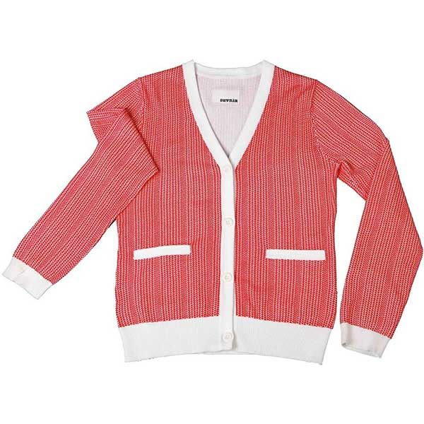 針織衫 摩達客 美國LA設計品牌【Suvnir】紅白 針織衫 外套(11912082008)