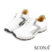 SCONA 全真皮 輕量彈力機能休閒鞋 白色 1249-1