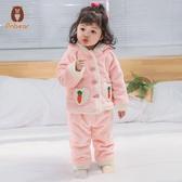 兒童睡袍浴袍兒童睡袍女寶寶睡衣秋冬季加厚款浴袍嬰兒衣服加絨保暖居家服新款