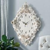 掛鐘 歐式天使掛鐘家居客廳臥室靜音鐘創意藝術鐘錶掛錶石英鐘16英寸 DF