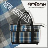 經典蘇格蘭紋 手提肩背包  高質感絨布材質 ~ 藍色 AMINAH~【am-0096】
