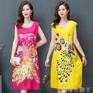 中老年媽媽棉綢睡衣女洋裝夏季時尚家居睡裙人造棉大碼寬鬆裙子 蘿莉新品