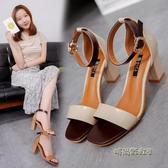 新款夏季女涼鞋韓版時尚簡約百搭一字扣粗跟露趾高跟鞋大碼鞋