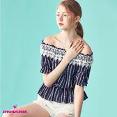 【SHOWCASE】蕾絲露肩領條紋縮腰上衣(藍)