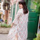 Poly Lulu 滿版碎花開襟長版罩衫外套-白【93090032】