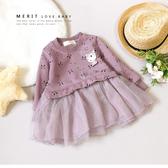 可愛貓咪貼布繡拼接紗裙小洋裝 保暖 不倒絨 紗裙 寶寶衣服 嬰兒長袖 嬰兒童裝 嬰兒衣服