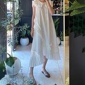 洋裝 韓系春夏復古壓褶荷葉邊中長款無袖連身裙 花漾小姐【預購】