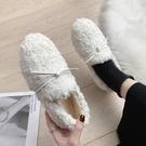 毛毛鞋 毛毛鞋女秋冬外穿新款百搭平底單鞋加絨羊羔毛一腳蹬豆豆鞋子-Ballet朵朵
