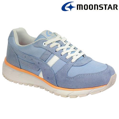 日本【MOONSTAR】防水防滑輕量舒適健走鞋(女款3E寬楦) - 淺藍