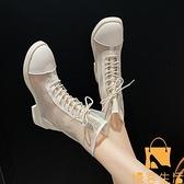 馬丁靴女網紗鏤空小短靴薄款透氣單靴【慢客生活】