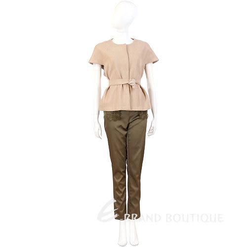Liesangbong 橄欖綠色蕾絲點綴緞面長褲 0510533-08