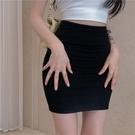 窄裙 一步裙半身裙女夏季高腰緊身性感辣妹包臀短裙2021年新款黑色裙子 歐歐