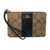 【COACH】經典C LOGO直紋PVC皮革手拿包零錢包(焦糖/黑)