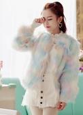店長推薦 冬裝甜美小香風時尚人造毛毛大衣漸變彩色修身顯瘦皮草短款外套女