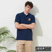 【JEEP】簡約狐狸圖騰舒適短袖POLO衫-藍