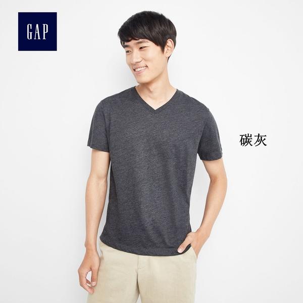 Gap男裝 基礎款純色V領短袖T恤 645979-炭灰