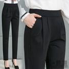 西裝褲女春夏新款女褲哈倫褲女高腰直筒九分褲小腳長褲女黑色休閒