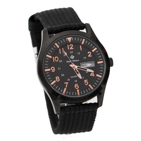 手錶 型男軍用玫瑰金刻度數字全黑帆布腕錶 搭戴SEIKO精工VX43石英機芯 柒彩年代【NE1796】30米防水