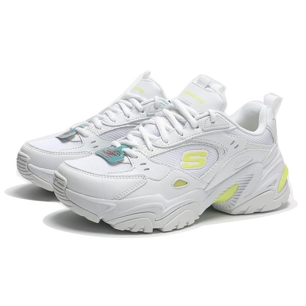 SKECHERS 休閒鞋 STAMINA V2 全白 螢光黃 老爹鞋 增高 女 (布魯克林) 149510WLM