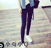EASON SHOP(GU3147)黑色內搭褲貼腿庫彈力貼身小黑褲女褲外穿秋裝韓大碼緊身小腳鉛筆長褲窄管褲