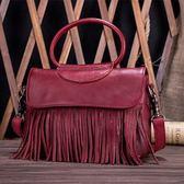手提包-真皮復古流蘇時尚優雅女側背包2色73lp40【巴黎精品】