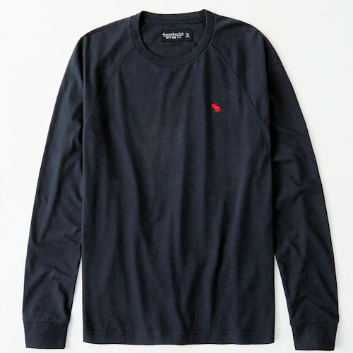 A & F 男經典長袖T恤(深藍色)