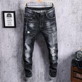單寧牛仔褲 薄款破洞男修身型小腳乞丐男個性韓版潮流男牛仔長褲男褲子《印象精品》t6082