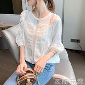 雪紡上衣女秋季新款時尚燈籠袖襯衫寬鬆蕾絲打底遮肚洋氣小衫