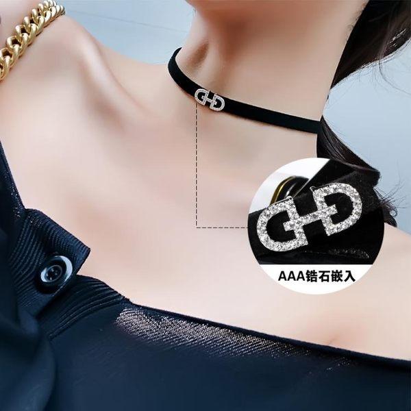 女士頸帶chocker頸帶性感黑色短版鎖骨鍊項鍊女網紅項圈頸鍊脖子飾品脖頸